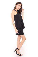 ALLY ORIGAMI DRESS IN BLACK