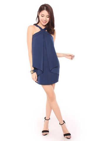 ALLY ORIGAMI DRESS IN BLUE