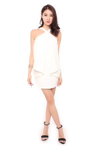 ALLY ORIGAMI DRESS IN WHITE