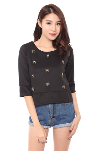 MAZE SPIDER TOP IN BLACK