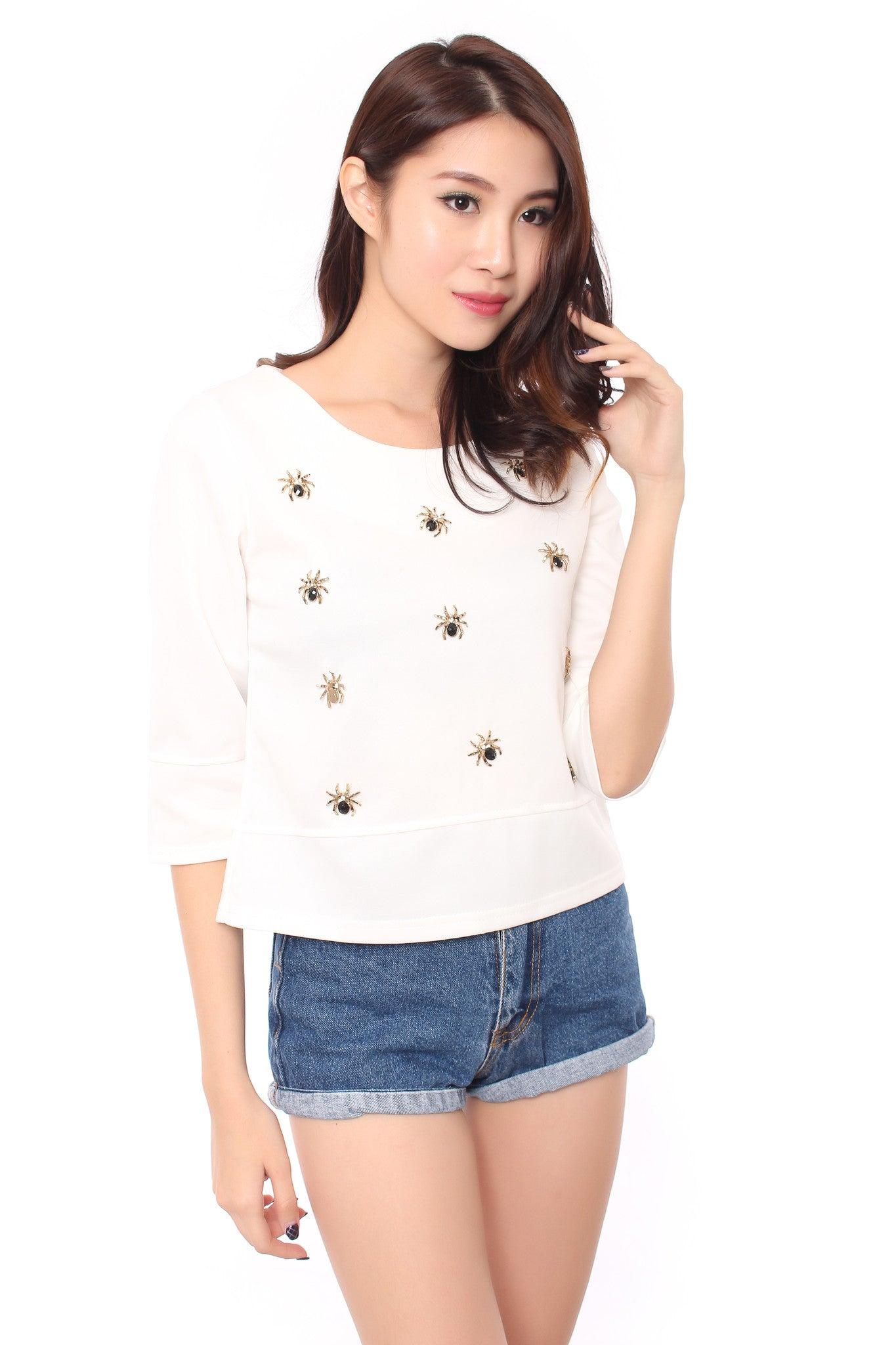 MAZE SPIDER TOP IN WHITE