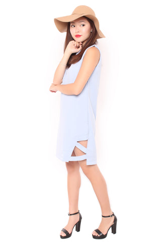 Cross Slit Dress in Baby Blue
