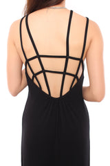 CAGED MAXI IN BLACK