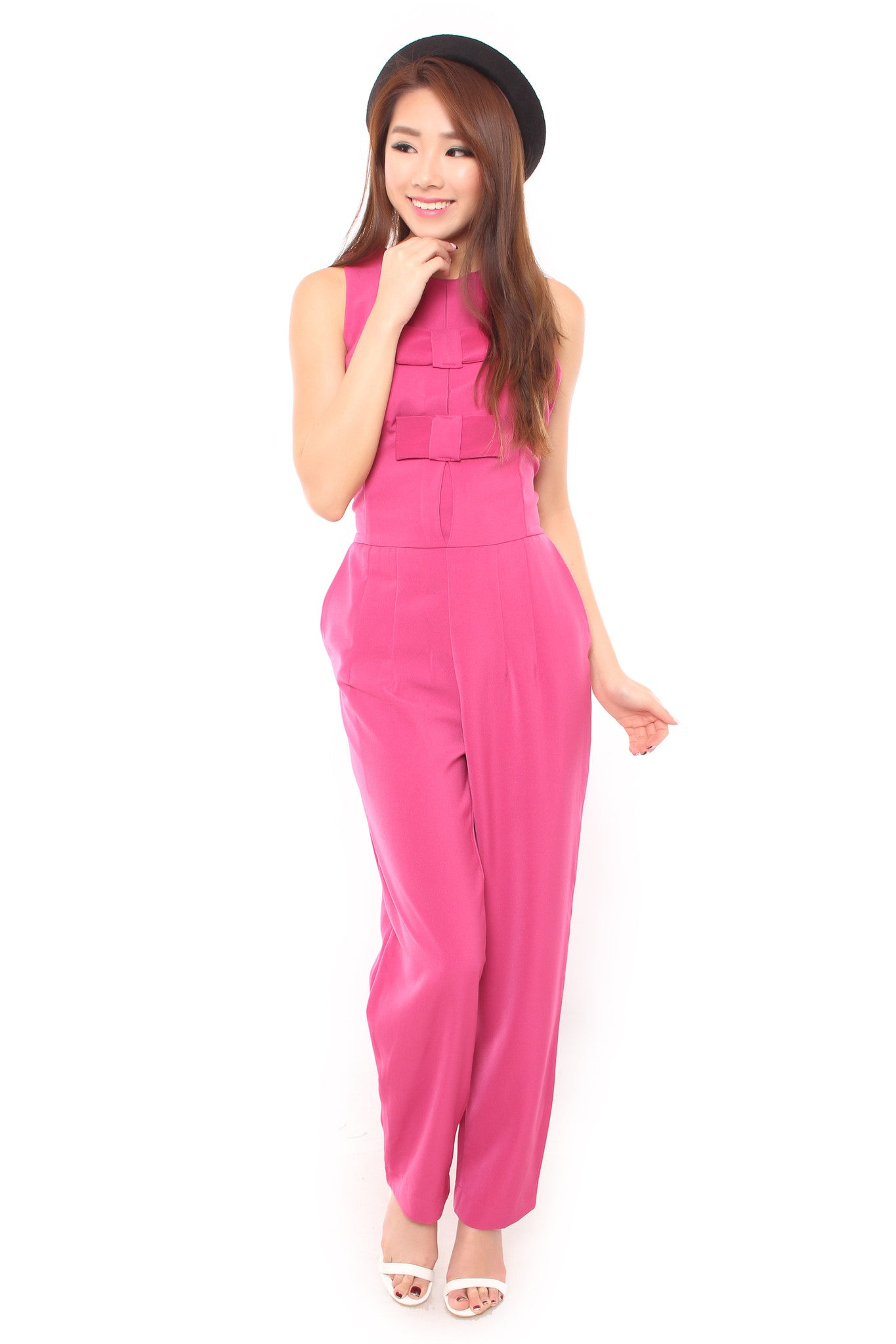 ADDY BOW JUMPSUIT IN PINK