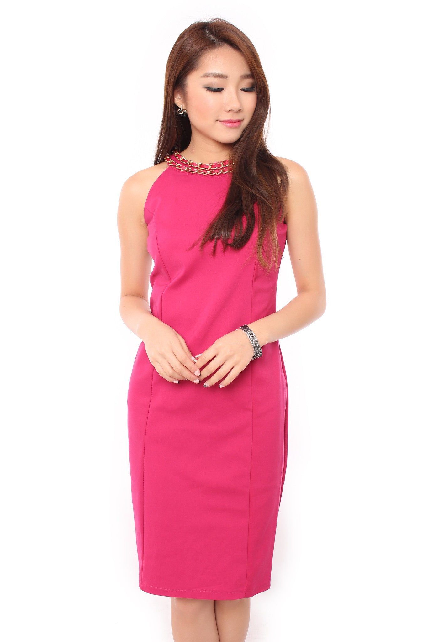 LUNAR CHAINED DRESS IN PINK
