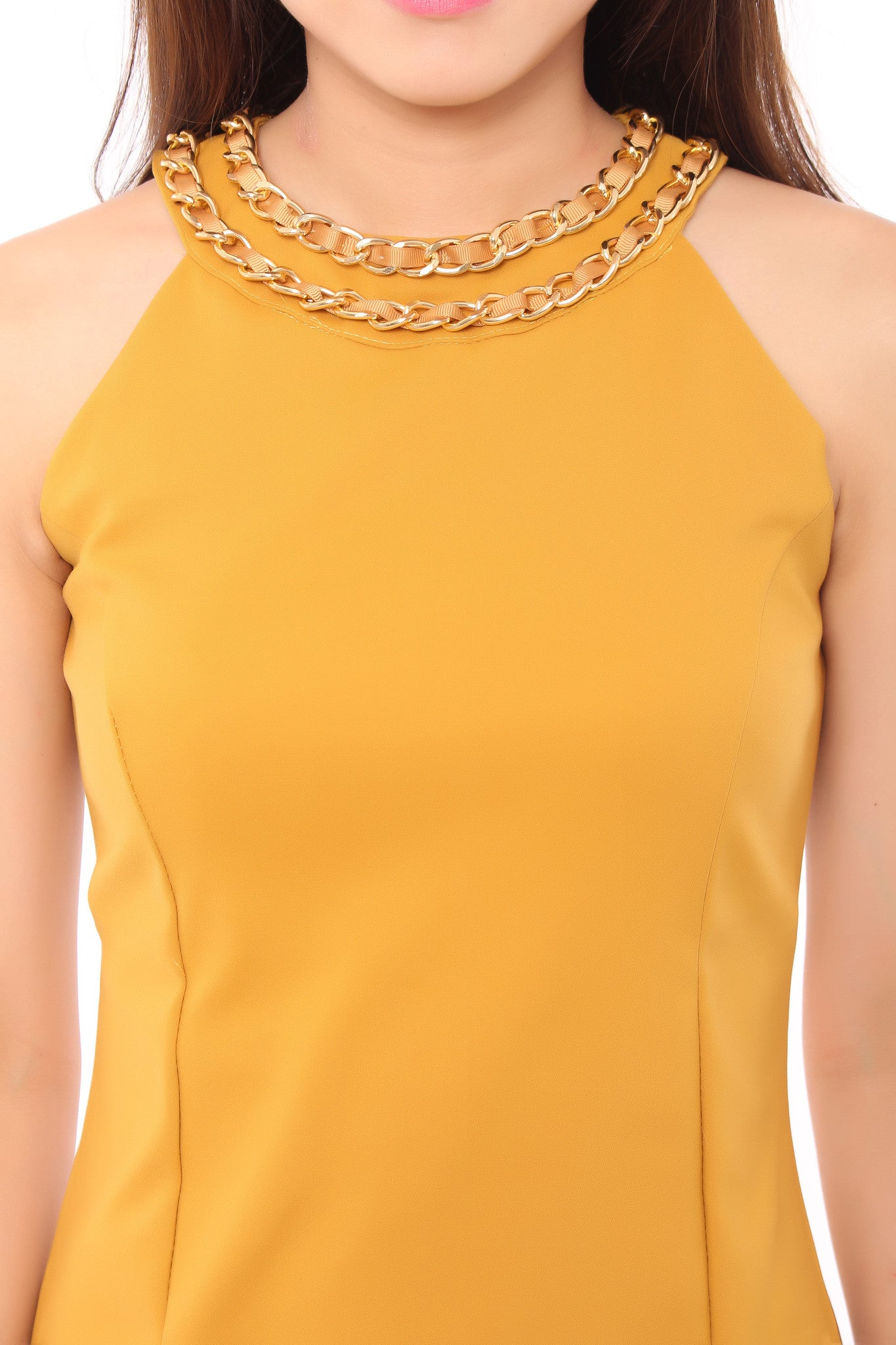 LUNAR CHAINED DRESS IN mustard