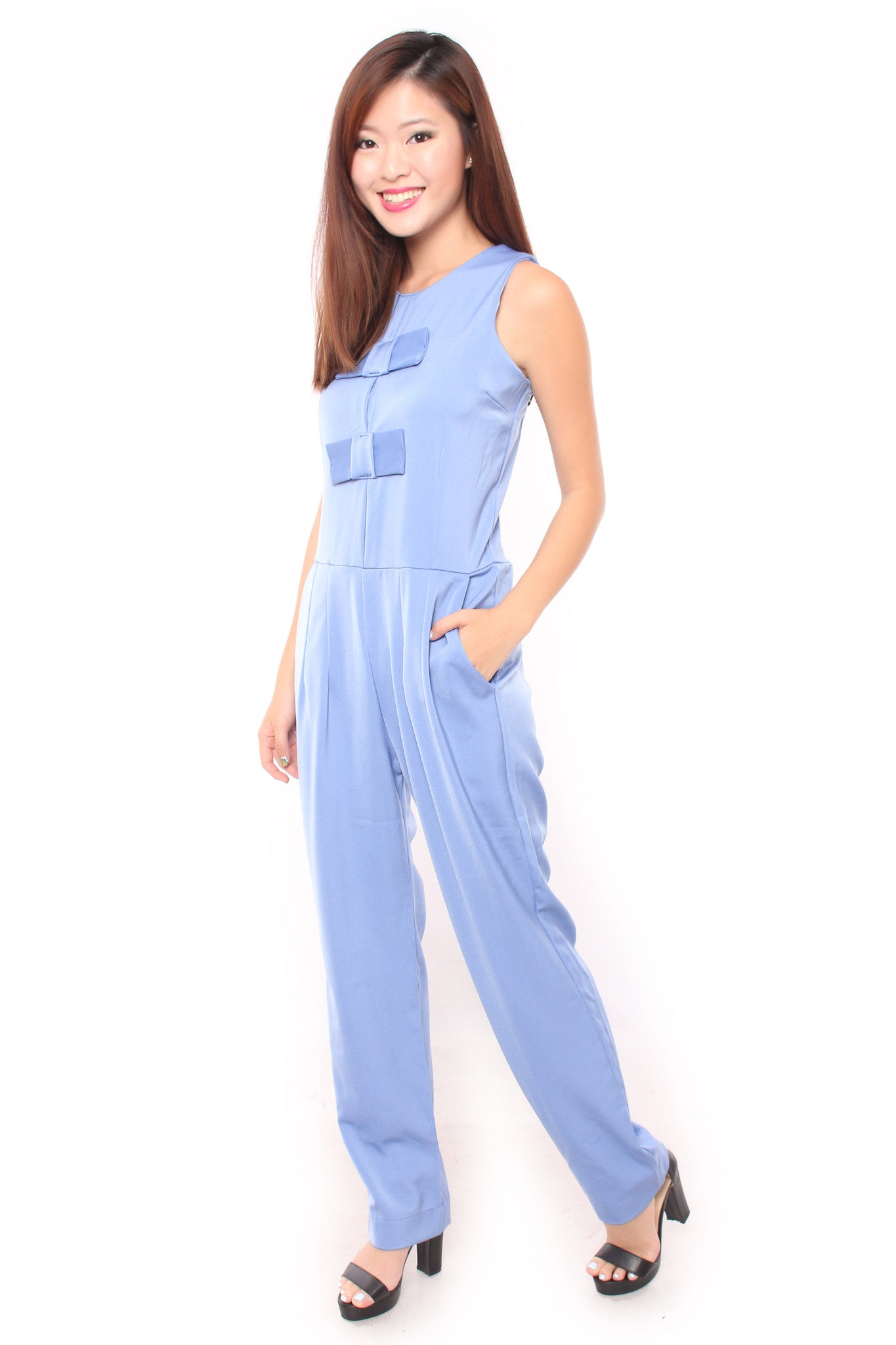 ADDY BOW JUMPSUIT IN SKY