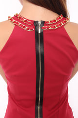 LUNAR CHAINED DRESS IN maroon