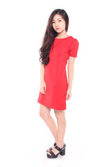 FLUTTER SHIFT DRESS IN RED