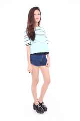 STRIPED MID SLEEVE - LIGHT BLUE