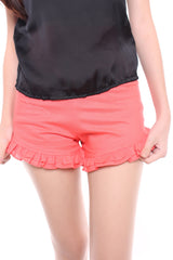 RUFFLED SHORTS - PEACH PINK
