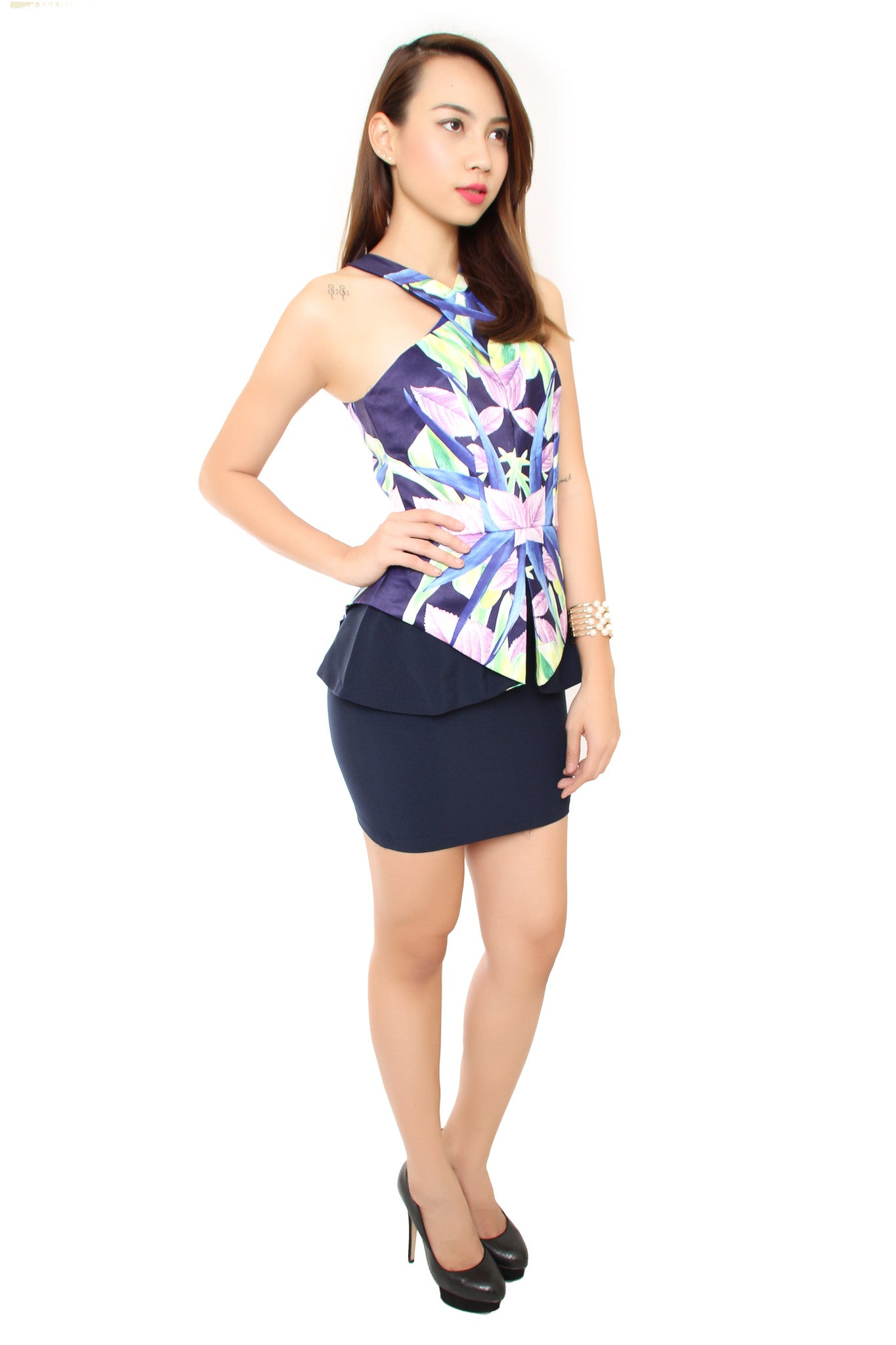 Daire Polygon Dress in Navy