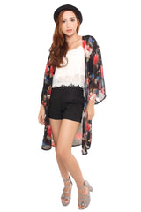 FLORAL SHRUG IN BLACK