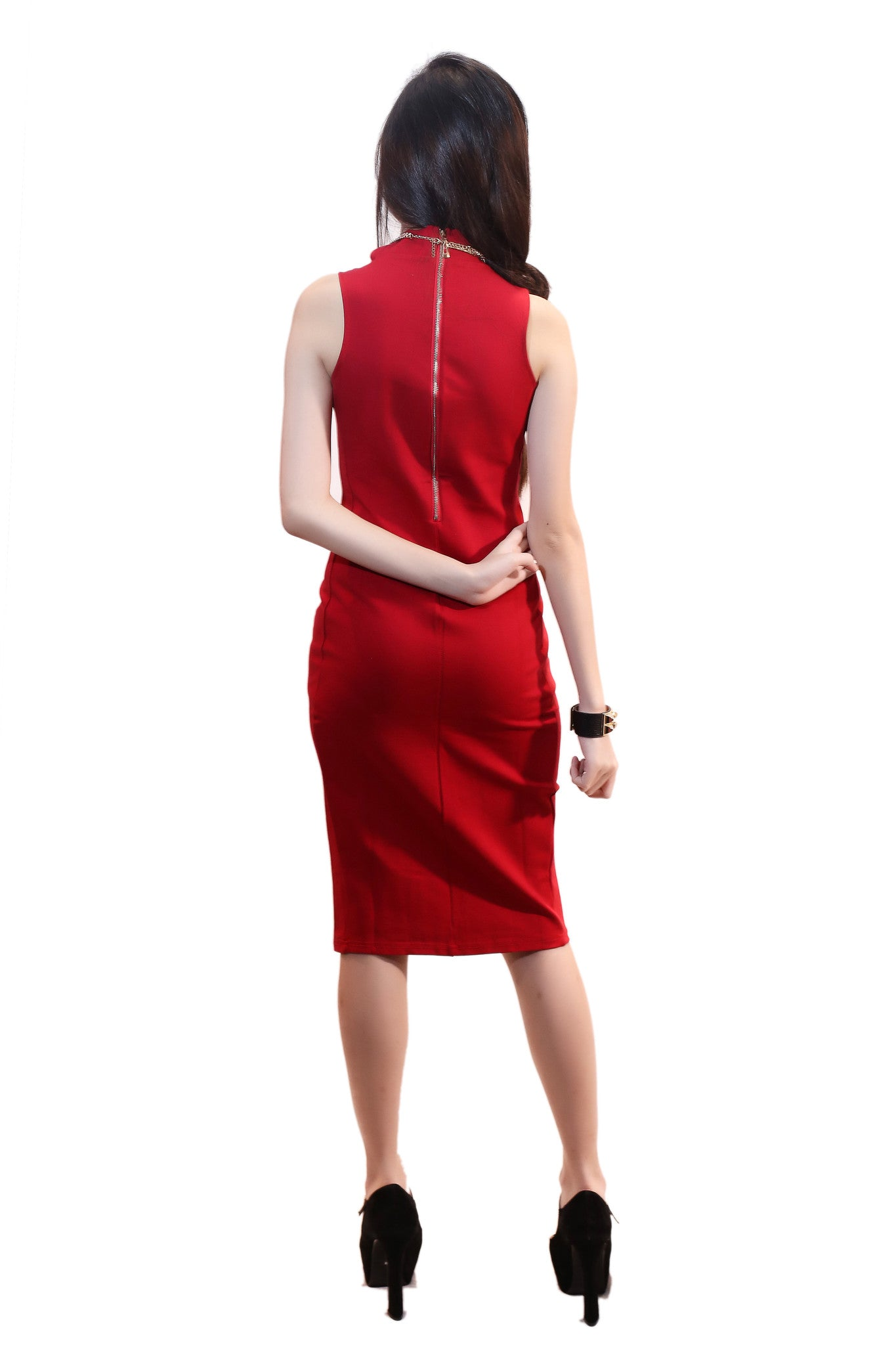 AMBER MIDI DRESS IN RED