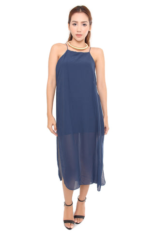 CADE SLIT MAXI IN NAVY