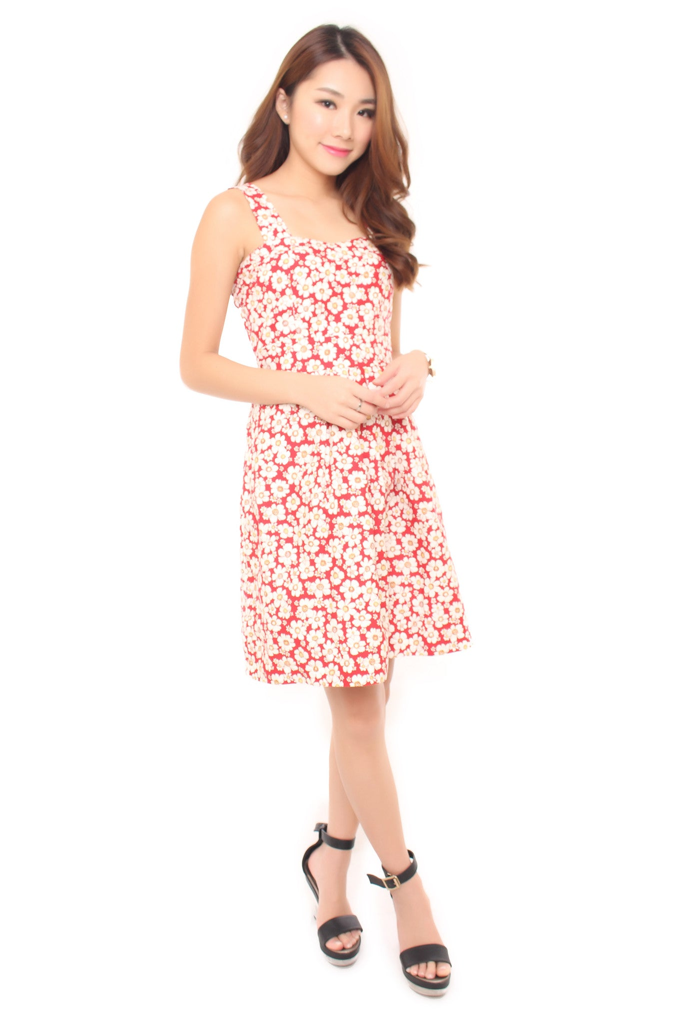 ERICA FLORAL DRESS - RED