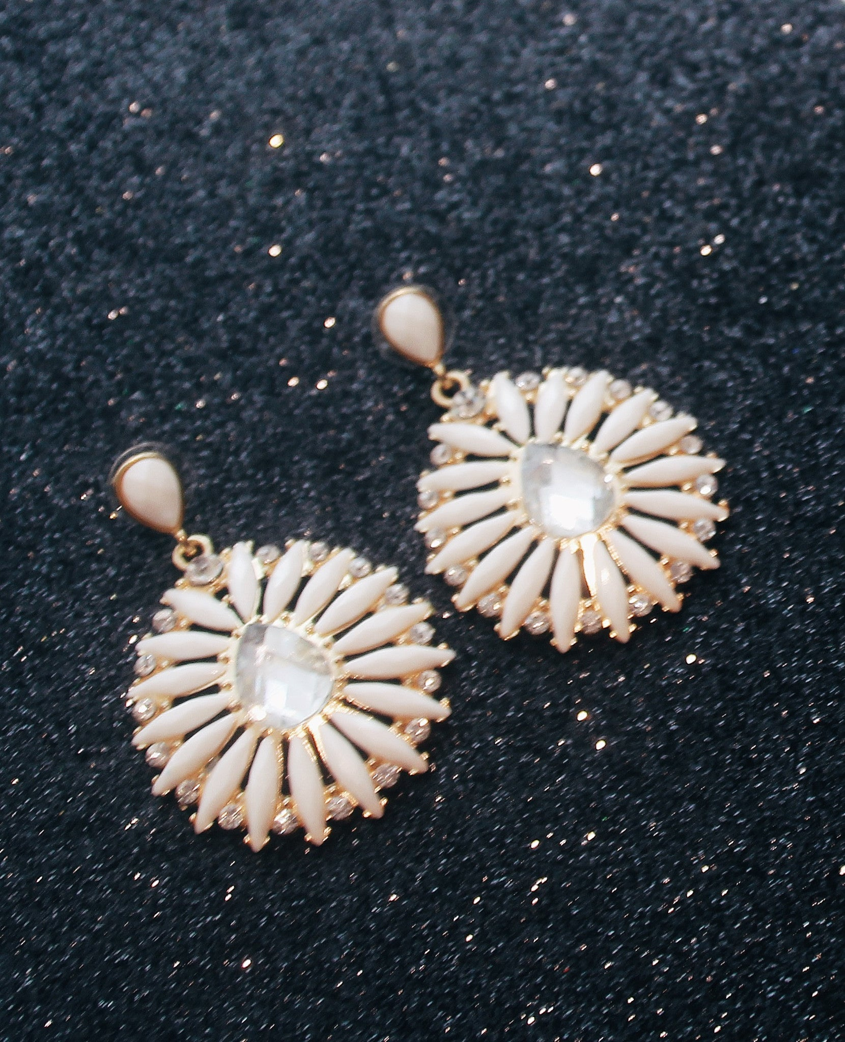 White Gem Earrings