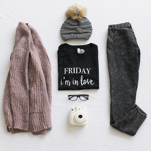 Flatlay with Pom Beanie and Friday Apparel