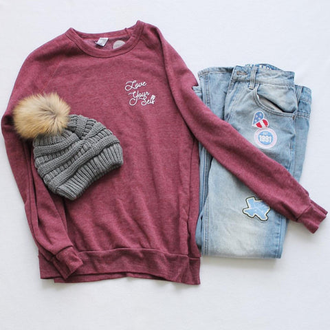 Flat-lay with Pom Beanie and Friday Apparel