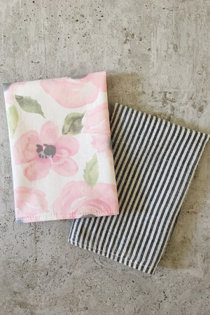 Cotton Cloth Napkins (Floral + Stripes 4 pack)
