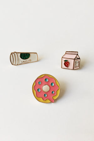 Coffee + Donut Pin Set