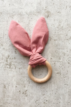 Crinkle Bunny Ears Teether - Rose