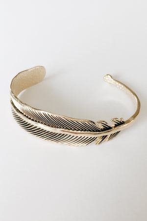 Feather Wrap Bracelet (Gold)