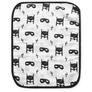 Organic Cotton Reversible Burp Cloth - Modern Mouse + Hero Struck