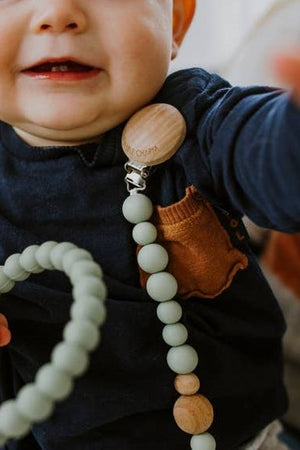 Wood + Silicone Pacifier Clip - Sage