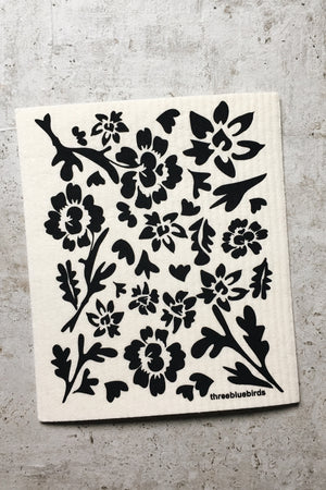 Swedish Dishcloth - Black Floral