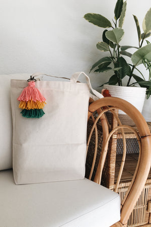 Cotton Canvas Tote with Tassel Keychain
