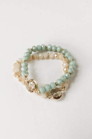 Crystal Bracelet Set (Mint + Natural)