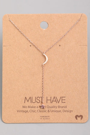 Moon and Star Necklace (Gold, Rose Gold + Silver)
