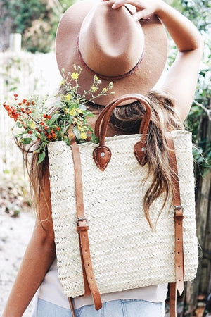 Handmade Straw Backpack