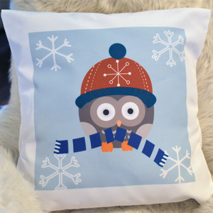 Winter Owl with Scarf- Pillowcase - Aspireimaginary