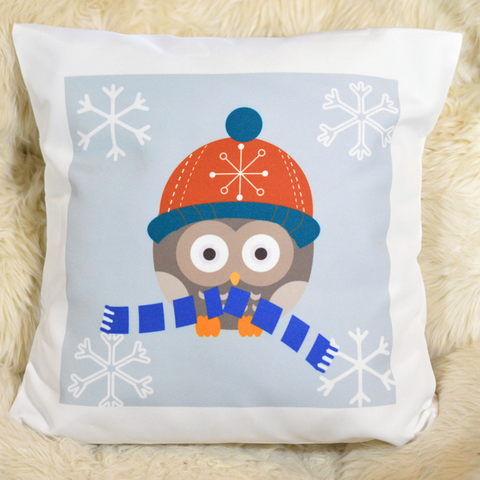 Winter Owl with Scarf- Pillowcase