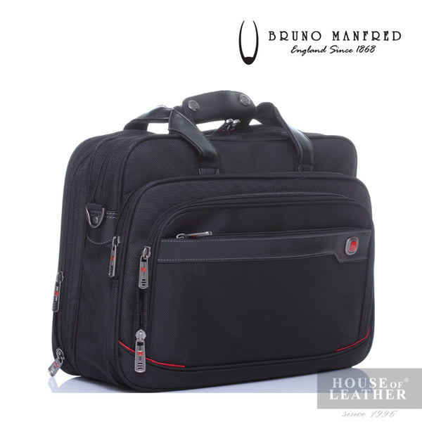 BRUNO MANFRED Hector BH8219 Laptop Bag - Black - Leatherhouse2u  - 3