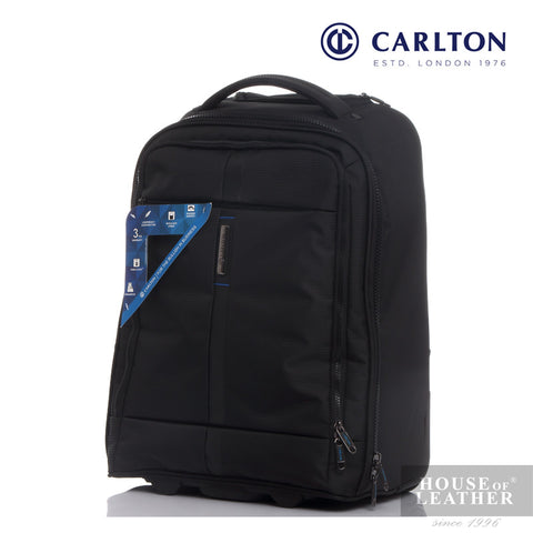 CARLTON Wallstreet Backpack On Wheel - Black - Leatherhouse2u  - 1