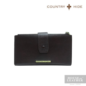 COUNTRY HIDE SAVANNAH 2017 YS-48-28-1682 LONG CARD WALLET - DARK BROWN
