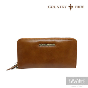 COUNTRY HIDE SAVANNAH 2017 YS-48-28-3438 LONG ZIP WALLET - BROWN