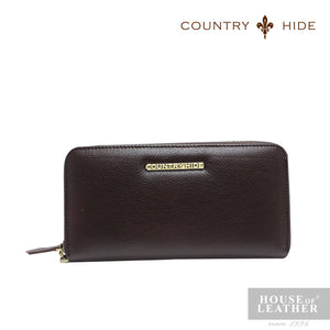 COUNTRY HIDE SAVANNAH 2017 YS-48-28-3438 LONG ZIP WALLET - DARK BROWN