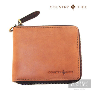 COUNTRY HIDE Louis M403 Zip Wallet - Brown - Leatherhouse2u  - 1