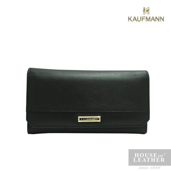KAUFMANN BAILEY YS-49-28-1755 LONG WALLET W FLAP - BLACK