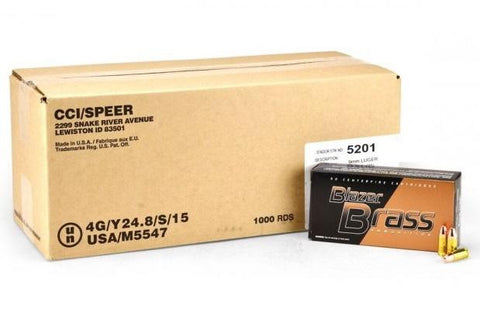 CCI Blazer Brass 9mm Luger 124gr FMJ Ammunition