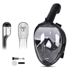 Load image into Gallery viewer, Smaco Full Face Scuba Mask Snorkel Mask Easy Breath Black Blue Snorkeling