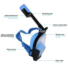Load image into Gallery viewer, Smaco M8025G Double Channel Double Pipe Full Face Scuba Mask Snorkel Mask Easy Breath Black Blue Snorkeling