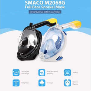 Smaco Full Face Scuba Mask Snorkel Mask Easy Breath Black Blue Snorkeling