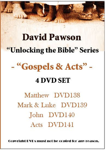 "David Pawson-""Unlocking the Bible"" Gospels & Acts -- 4 DVD SET"