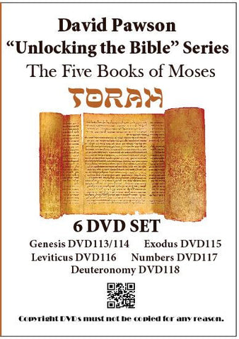 "David Pawson ""Unlocking the Bible"" The Five Books of Moses ""Torah"" -- 6 DVD SET"