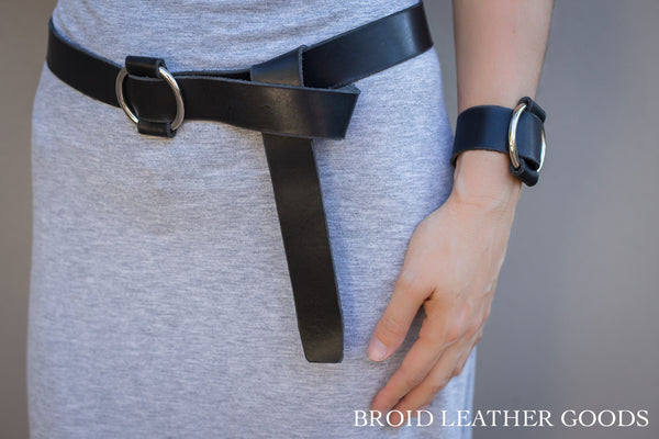 Leather Belt and Wrist Bracelet COMBO